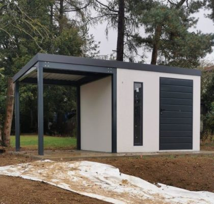 montovany zahradni domek s pristreskem